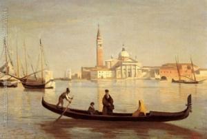 Venise--Gondole-sur-Le-Grand-Canal-(or-Saint-Georges-Majeur-au-fond)-large_1